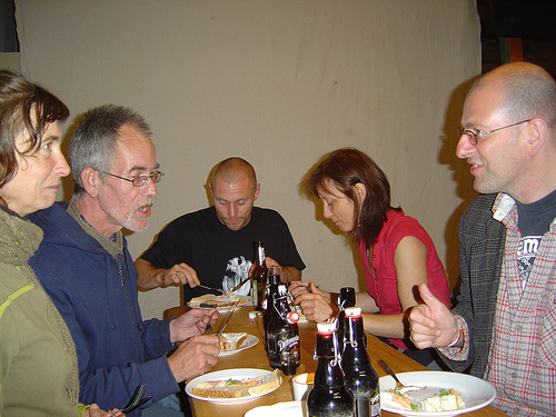Elke Postler, Tom Zunk (left) and Adrian Gilbert (right). Image by Alan Holmes